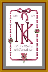Cross stitch Wedding Anniversary Sampler - 10th