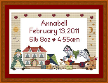 Cross stitch Birth Samplers for Girls