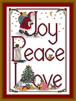 Joy Peace Love Cross-stitch