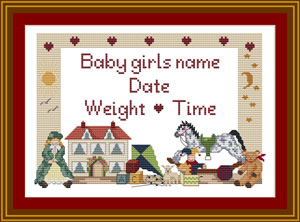 Girls Cross stitch Birth sampler