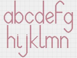 Lowercase Alphabet Cross stitch chart